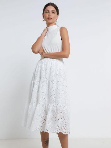 חצאית מידי מתרחבת בדוגמת חירורים של YANGA