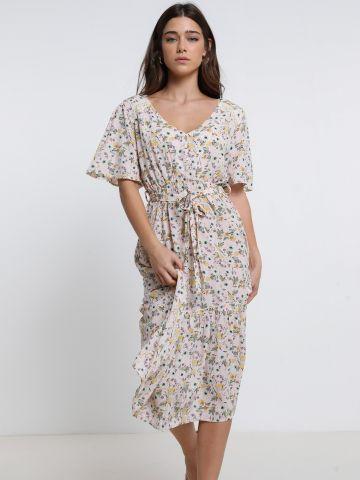 שמלת מידי בהדפס פרחים עם חגורת קשירה של YANGA