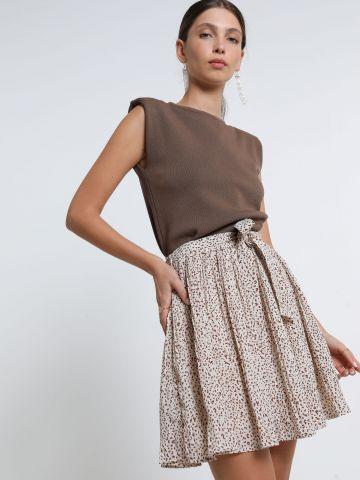 חצאית מיני פליסה בהדפס מנומר של YANGA