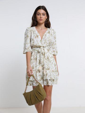 שמלת מיני שכבות בהדפס פרחים של YANGA