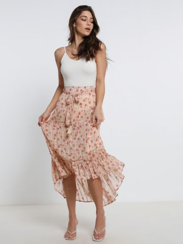 חצאית מידי בהדפס פרחים עם קשירה של YANGA