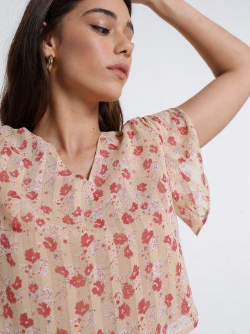 חולצת קרופ בהדפס פרחים של YANGA
