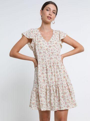 שמלת מיני קומות בהדפס פרחים עם גומייה תואמת של YANGA