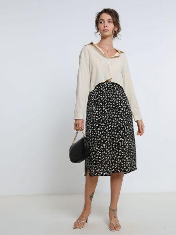 חצאית מידי בהדפס חברבורות עם שסע של YANGA