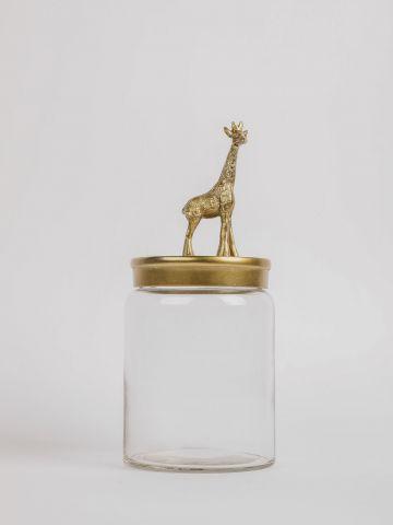 צנצנת זכוכית עם מכסה ג'ירפה של FLORALIS