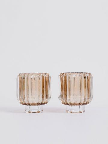 מארז 2 מעמדי זכוכית לנר של FLORALIS