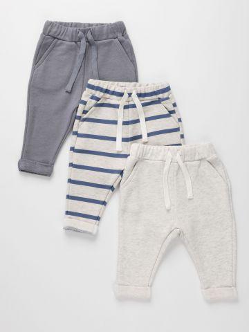 מארז 3 מכנסי טרנינג עם קיפול פרנץ' טרי / 0M-6Y של TERMINAL X KIDS