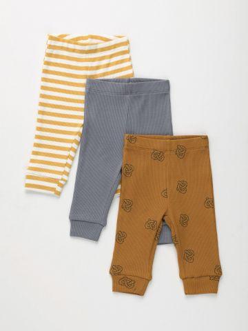 מארז 3 מכנסי ריב בהדפסים / 0-2Y של TERMINAL X KIDS