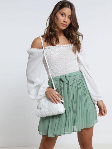 חצאית מיני פליסה עם קשירה של YANGA