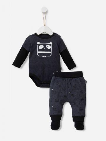 סט בגד גוף ומכנסיים ארוכים בהדפס / 0-12M של SHILAV