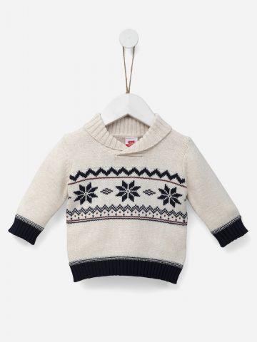 סוודר בשילוב פתיתי שלג / 0-3Y של SHILAV