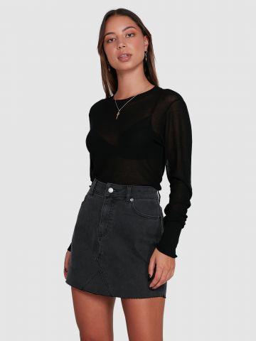 חצאית ג'ינס מיני עם סיומת פרומה של RVCA