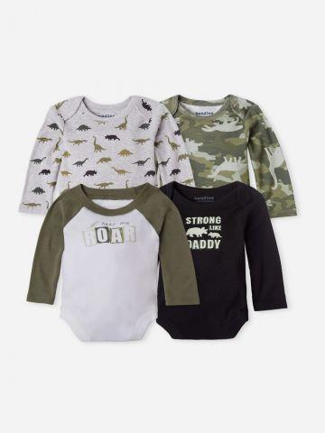 מארז 4 בגדי גוף בהדפסים בסגנון דרקון / 0-24M של THE CHILDREN'S PLACE