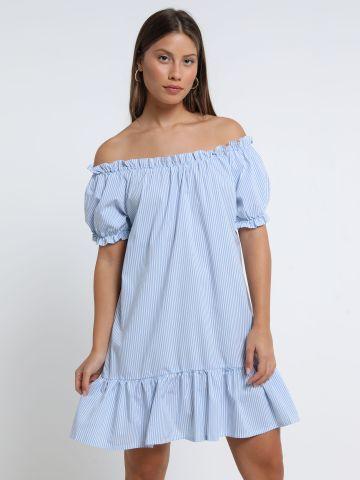שמלת מיני פפלום בהדפס פסים של YANGA