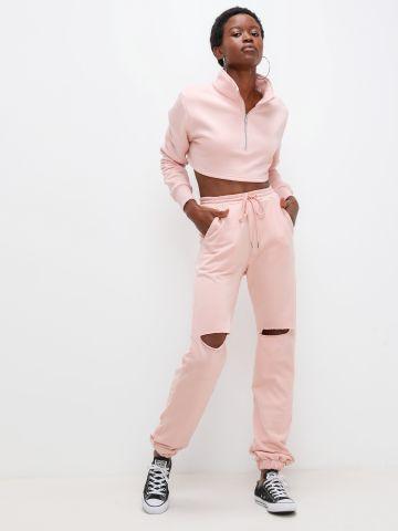 מכנסי טרנינג עם קרעים של KIMOR X TERMINAL X
