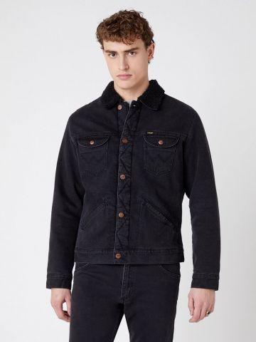 ג'קט ג'ינס עם צווארון דמוי צמר של WRANGLER