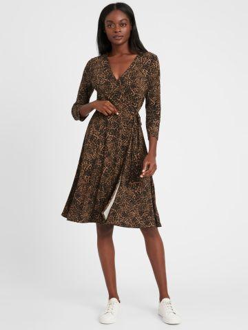 שמלת מידי מעטפת בהדפס מנומר של BANANA REPUBLIC