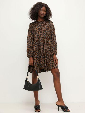 שמלת סאטן קומות בהדפס חברבורות של BANANA REPUBLIC
