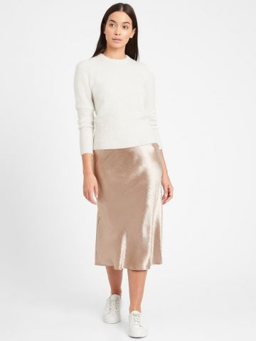 חצאית מידי סאטן של BANANA REPUBLIC
