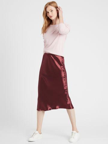 חצאית מידי סאטן בטקסטורה של BANANA REPUBLIC