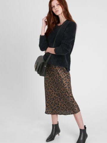 חצאית מידי סאטן בהדפס חברבורות של BANANA REPUBLIC