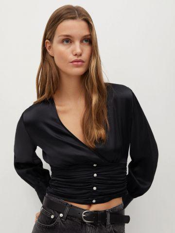 חולצת קרופ סאטן עם כיווצים של MANGO