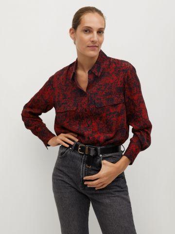 חולצה מכופתרת בהדפס אבסטרקטי של MANGO