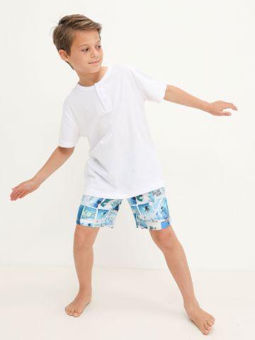מכנסי גלישה בהדפס טרופי של FOX