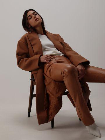 מכנסיים דמוי עור עם סיומת רחבה של TERMINAL X