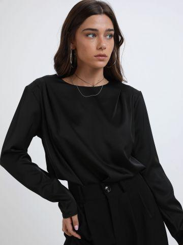 חולצת סאטן עם כריות כתפיים של TERMINAL X