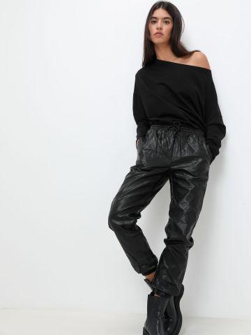 מכנסיים דמוי עור עם כיסים של GLAMOROUS