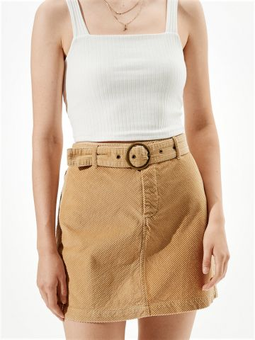 חצאית מיני קורדורוי עם חגורה של AMERICAN EAGLE