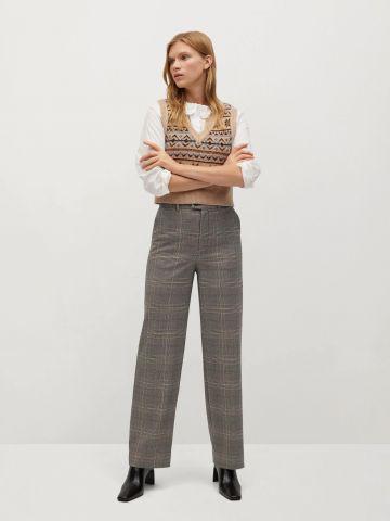מכנסיים ארוכים בהדפס משבצות של MANGO