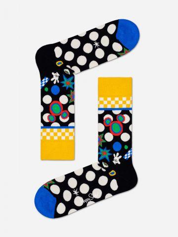 גרביים בדוגמת נקודות בשילוב מיקי מאוס / גברים של HAPPY SOCKS