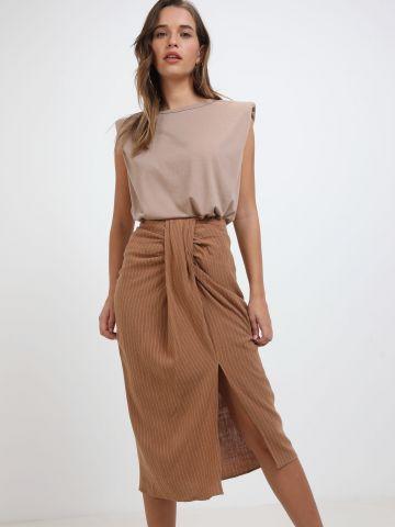 חצאית מידי פסים עם טוויסט של TERMINAL X