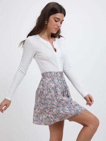 חצאית מיני פפלום בהדפס פרחים של YANGA