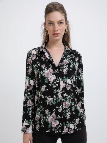 חולצה מכופתרת בהדפס פרחים של YANGA