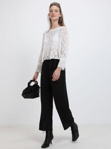 מכנסיים רחבים עם חגורת גדילים של YANGA