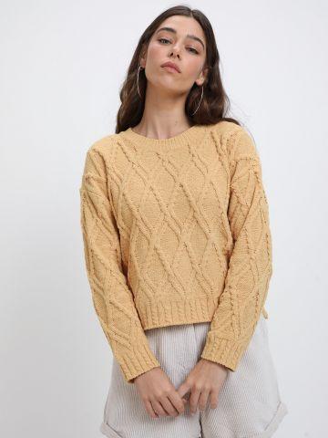 סוודר בטקסטורת מעויינים של YANGA
