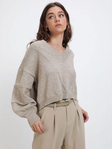 סוודר קרופ בטקסטורה של YANGA