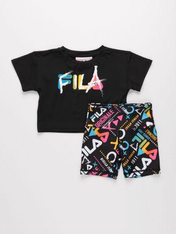 סט טי שירט קרופ וטייץ רכיבה עם לוגו / בנות של FILA