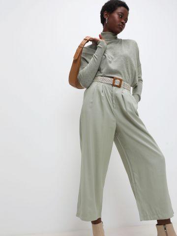 מכנסי קרופ רחבים עם חגורה של YANGA