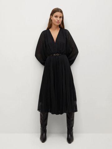שמלת מידי פליסה עם חגורה של MANGO