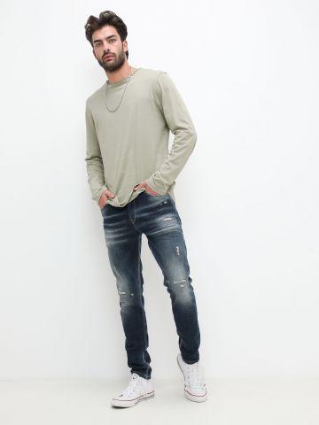 ג'ינס סקיני ווש עם קרעים של PEPE JEANS