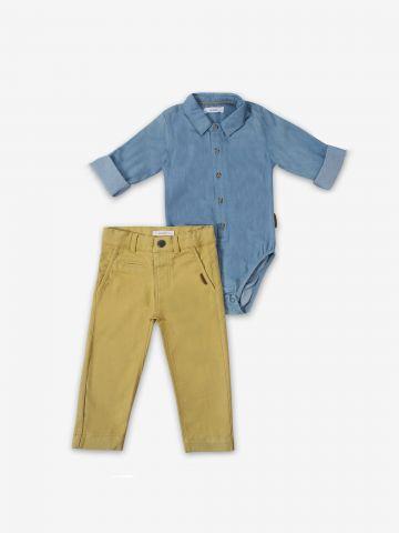 סט בגד גוף דמוי ג'ינס ומכנסיים / 3M-24M של MINENE