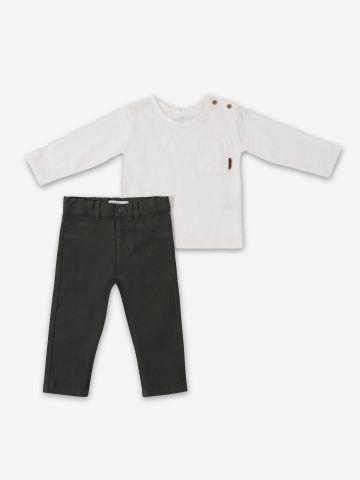 סט חולצה עם כפתורים דקורטיבים ומכנסיים / 6M-24M של MINENE