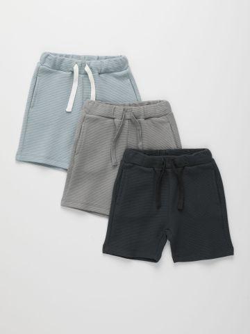 מארז 3 זוגות מכנסי טרנינג קצרים בטקסטורה / 6M-14Y של TERMINAL X KIDS