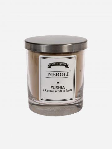 נר ריחני בכוס זכוכית Neroli של FUSHIA