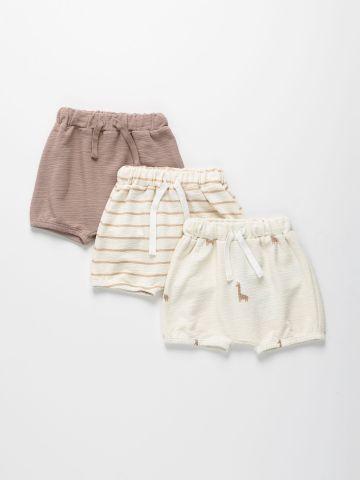 מארז 3 מכנסיים קצרים מבד דק בצבעים שונים / 0-2Y של TERMINAL X KIDS