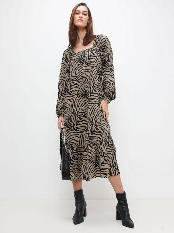 שמלת מקסי פפלום בהדפס מנומר של VERO MODA